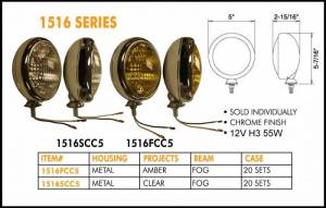 "Eagle Eye Lights - Eagle Eye Lights 1516FCC5 5"" Chrome 12V 55W Fog Amber Round Slim Off Road Light Each"