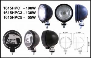 "Eagle Eye Lights - Eagle Eye Lights 1615HPC3 6"" Black 12V 130W Spot Clear Round Halogen Off Road Light with ABS Cover Each"