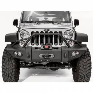 Fab Fours - Fab Fours JK07-B1850-1 Lifestyle Winch Front Bumper with Grille Guard Jeep Wrangler JK 2007-2018