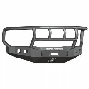 Road Armor - Road Armor 608R2B Front Stealth Winch Bumper with Square Light Holes + Titan II Ford Super F250/F350 2008-2010
