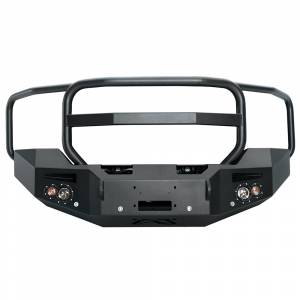 Fab Fours - Fab Fours GM14-C3150-1 Winch Front Bumper with Grille Guard and Sensors GMC 2500HD/3500 2015-2017