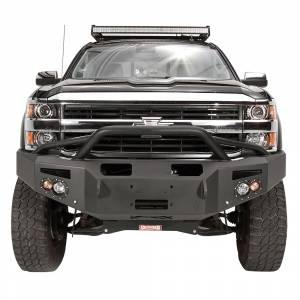 Fab Fours - Fab Fours CH14-C3052-1 Winch Front Bumper with Pre-Runner and Sensors Guard Chevy 2500/3500HD 2015-2017