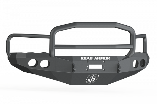 Road Armor - Road Armor 44045B Front Stealth Winch Bumper with Round Light Holes + Lonestar Guard Dodge Ram 2500/3500 2003-2005