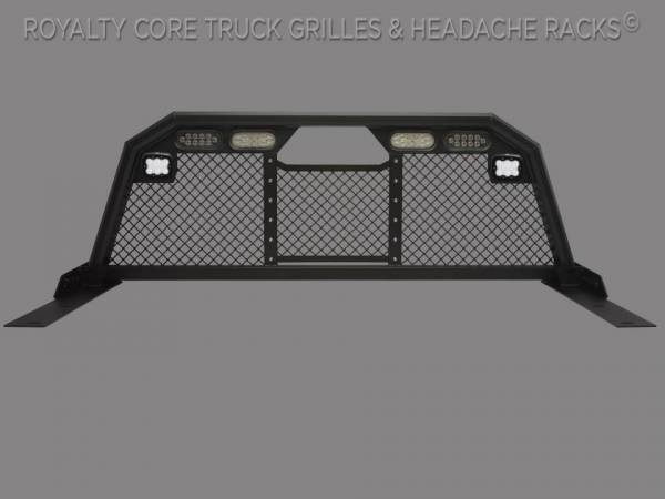 Royalty Core - Royalty Core 15840 Dodge Ram 1500 2009-2018 RC88 Ultra Billet Headache Rack w/ Integrated Taillights & Dura PODs