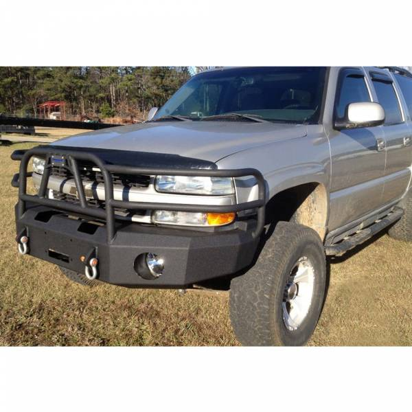 Hammerhead Bumpers - Hammerhead 600-56-0110T X-Series Winch Front Bumper with Full Brush Guard and Square Light Holes for Chevy Tahoe/Suburban 2001-2006