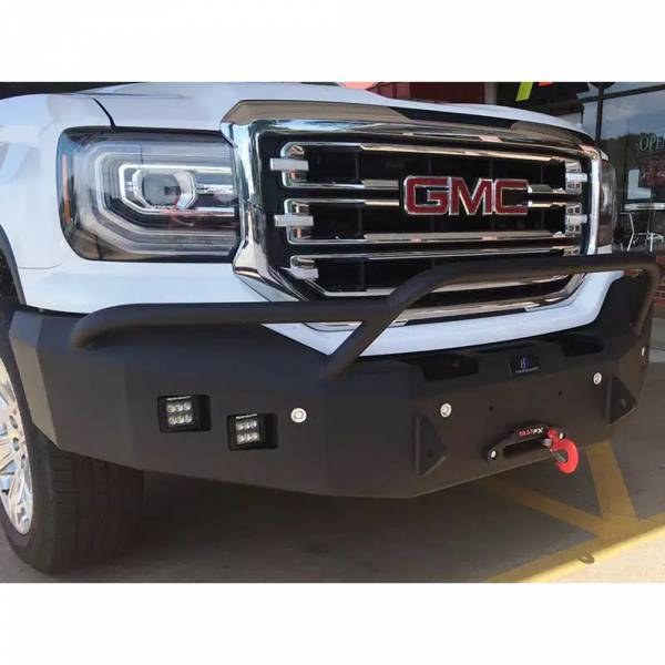 Hammerhead Bumpers - Hammerhead 600-56-0127Y Winch Front Bumper with Pre-Runner Guard and Square Light Holes for GMC Yukon 1992-2000