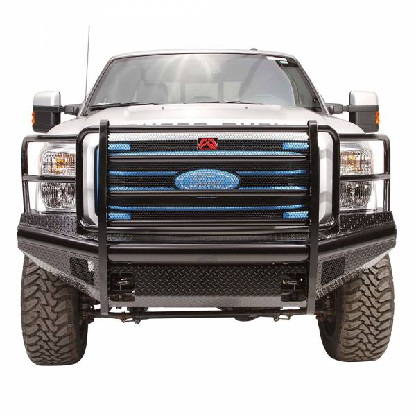 Fab Fours - Fab Fours FS11-S2560-1 Black Steel Front Bumper with Full Grille Guard for Ford F250/F350/F450/F550 2011-2016