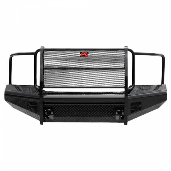 Fab Fours - Fab Fours GM11-S2860-1 Black Steel Front Bumper with Full Grille Guard for GMC Sierra 2500/3500 2011-2014