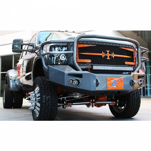 Fab Fours - Fab Fours FS11-A2650-1 Winch Front Bumper with Full Guard and Sensor Holes for Ford F450/F550 2011-2016