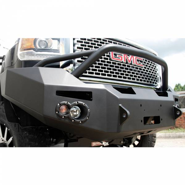 Fab Fours - Fab Fours GM14-A3152-1 Winch Front Bumper with Pre-Runner Guard for GMC Sierra 2500/3500 2015-2019