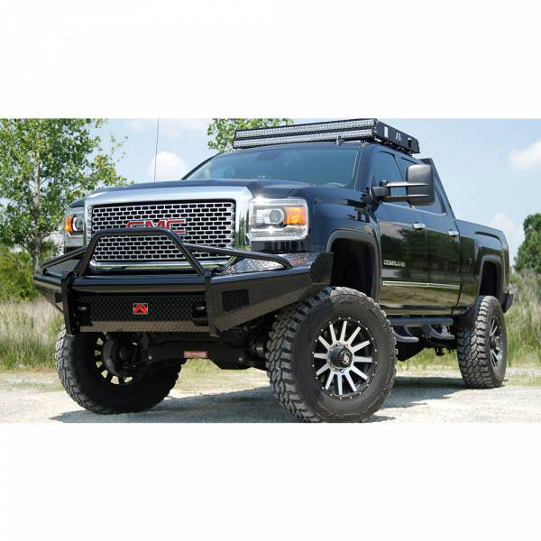 Fab Fours - Fab Fours GM14-S3162-1 Black Steel Front Bumper with Pre-Runner Guard for GMC Sierra 2500/3500 2015-2019