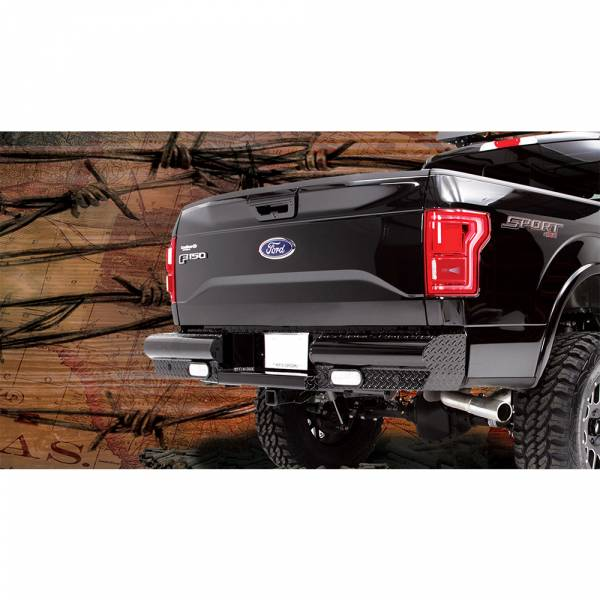Fab Fours - Fab Fours FF15-T3250-1 Black Steel Rear Bumper with Sensor Holes for Ford F150 2015-2019