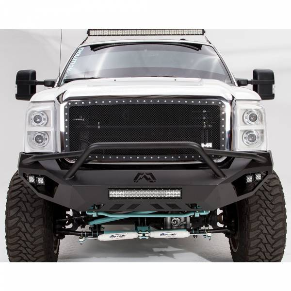 Fab Fours - Fab Fours FS11-V2552-1 Vengeance Front Bumper with Pre-Runner Guard and Sensor Holes for Ford F250/F350 2011-2016