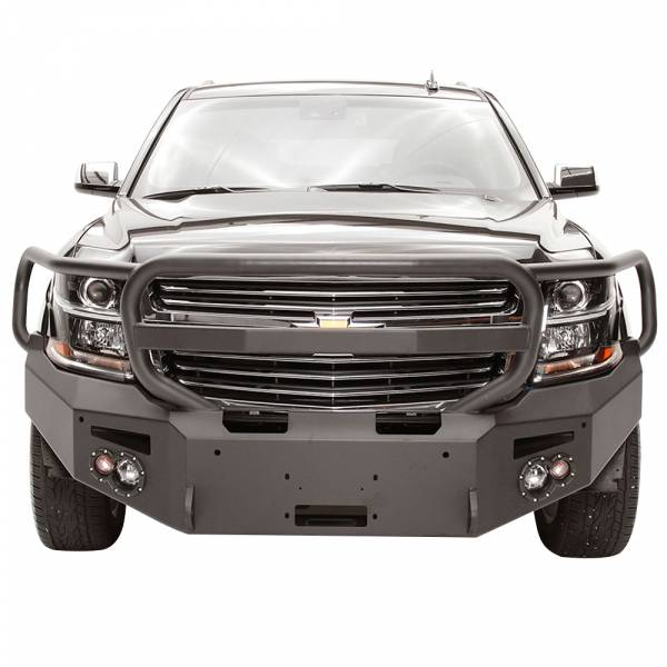 Fab Fours - Fab Fours CS15-F3550-1 Winch Front Bumper with Full Guard and Sensor Holes for Chevy Suburban 2015-2019