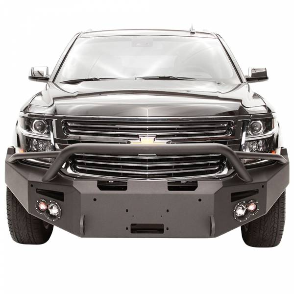 Fab Fours - Fab Fours CS15-F3552-1 Winch Front Bumper with Pre-Runner Guard and Sensor Holes for Chevy Suburban 2015-2019