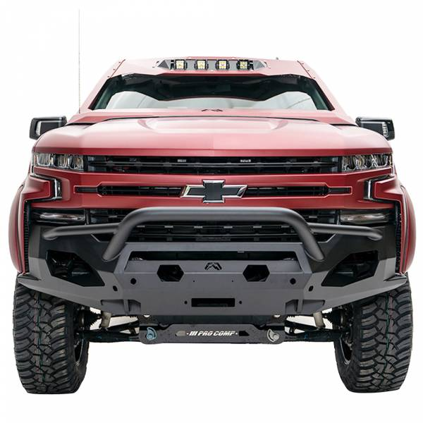 Fab Fours - Fab Fours CS19-X4052-1 Matrix Front Bumper with Pre-Runner Guard and Sensor Holes for Chevy Silverado 1500 2019-2020