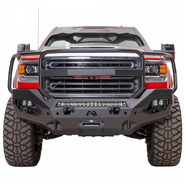 Fab Fours - Fab Fours GM15-X2850-1 Matrix Front Bumper with Full Guard and Sensor Holes for GMC Sierra 2500/3500 2015-2019