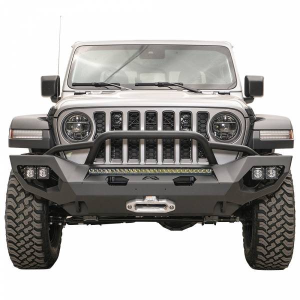 Fab Fours - Fab Fours JL18-X4652-1 Matrix Front Bumper with Pre-Runner Guard for Jeep Wrangler JL 2018-2020
