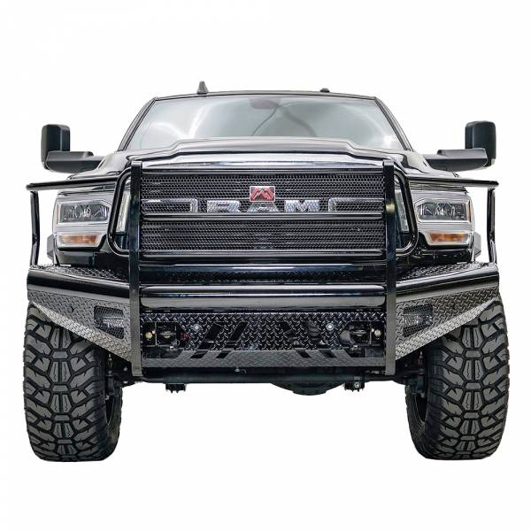 Fab Fours - Fab Fours DR19-S4460-1 Black Steel Front Bumper with Full Grille Guard for Dodge Ram 2500/3500 2019