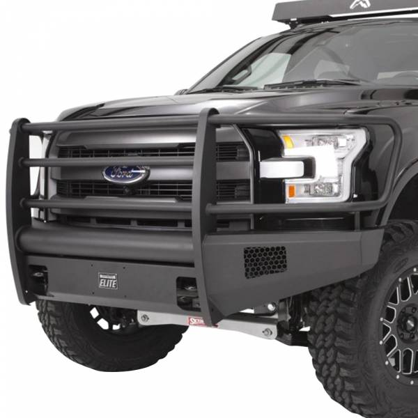Fab Fours - Fab Fours FF09-R1960-1 Black Steel Elite Smooth Front Bumper with Full Guard for Ford F150 2009-2014