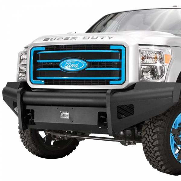 Fab Fours - Fab Fours FS08-Q1961-1 Black Steel Elite Smooth Front Bumper for Ford F250/F350 2008-2010