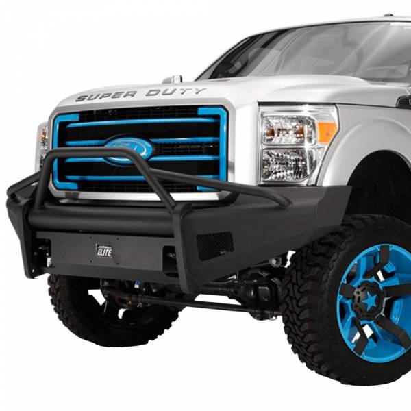 Fab Fours - Fab Fours FS08-Q1962-1 Black Steel Elite Smooth Front Bumper with Pre-Runner Guard for Ford F250/F350 2008-2010