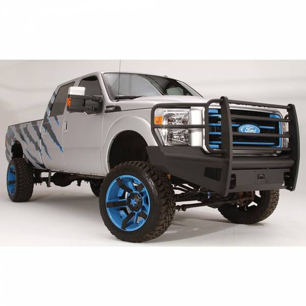 Fab Fours - Fab Fours FS11-Q2560-1 Black Steel Elite Smooth Front Bumper with Full Guard for Ford F250/F350/F450/F550 2011-2016