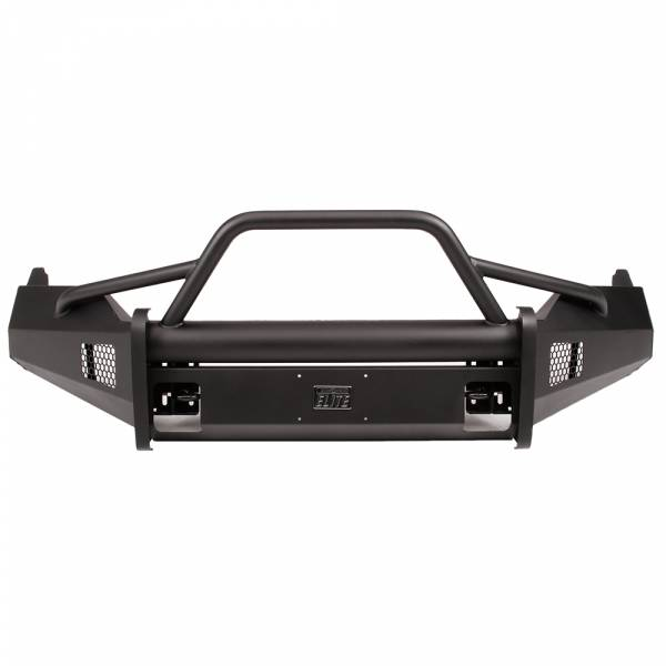 Fab Fours - Fab Fours DR13-R2962-1 Black Steel Elite Smooth Front Bumper with Pre-Runner Guard for Dodge Ram 1500 2013-2018