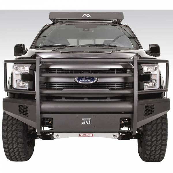 Fab Fours - Fab Fours FF15-R3250-1 Black Steel Elite Smooth Front Bumper with Full Guard for Ford F150 2015-2017