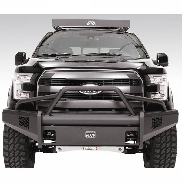 Fab Fours - Fab Fours FF15-R3252-1 Black Steel Elite Smooth Front Bumper with Pre-Runner Guard for Ford F150 2015-2017
