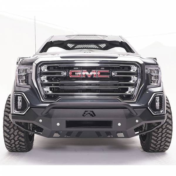 Fab Fours - Fab Fours GS19-D6052-1 Vengeance Front Bumper with Pre-Runner Guard and Sensor Holes for GMC Sierra 1500 2019-2020