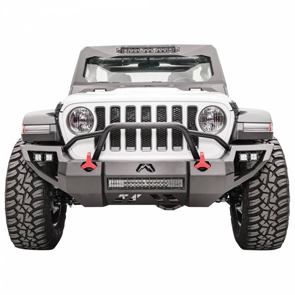 Fab Fours - Fab Fours JL18-D4652-1 Vengeance Front Bumper with Pre-Runner Guard and Sensor Holes for Jeep Gladiator JT 2018-2020