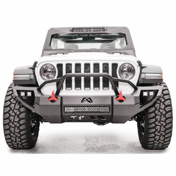 Fab Fours - Fab Fours JL18-D4652-1 Vengeance Front Bumper with Pre-Runner Guard and Sensor Holes for Jeep JL 2018-2020
