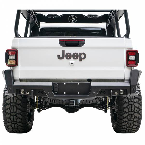 Fab Fours - Fab Fours JT20-Y1950-1 Rear Bumper with Sensor Holes for Jeep Gladiator JT 2020