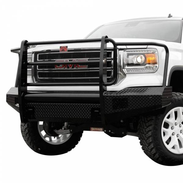 Fab Fours - Fab Fours GM07-K2160-1 Black Steel Front Bumper with Full Grille Guard for GMC Sierra 1500 2007-2013