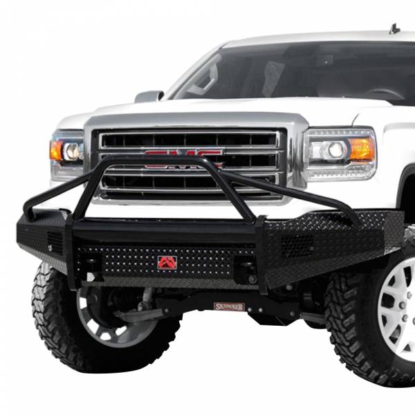 Fab Fours - Fab Fours GM07-K2162-1 Black Steel Front Bumper with Pre-Runner Guard for GMC Sierra 1500 2007-2013