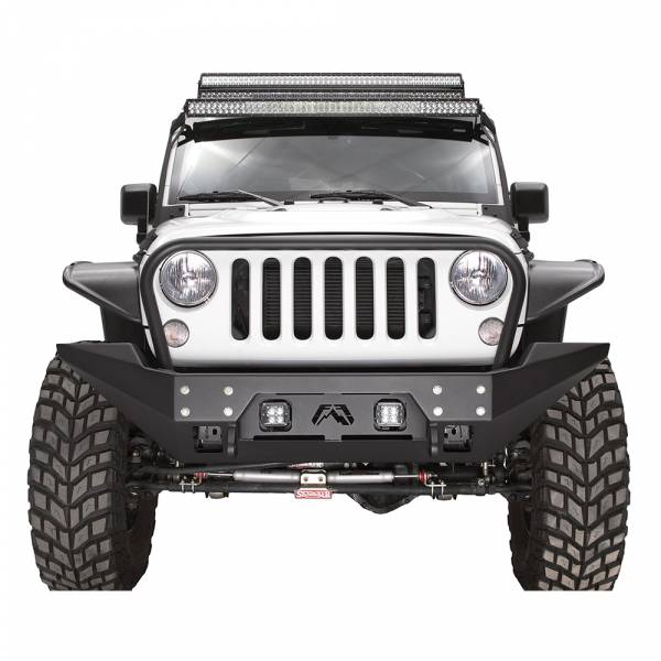 Fab Fours - Fab Fours JK07-B1856-1 FMJ Stubby Winch Front Bumper with Full Guard for Jeep Wrangler JK 2007-2018