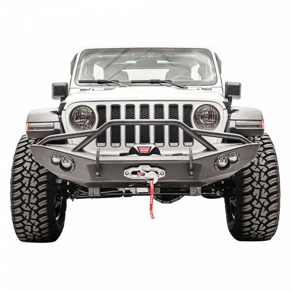 Fab Fours - Fab Fours JL18-B4652-1 Lifestyle Winch Front Bumper with Pre-Runner Guard for Jeep JL 2019