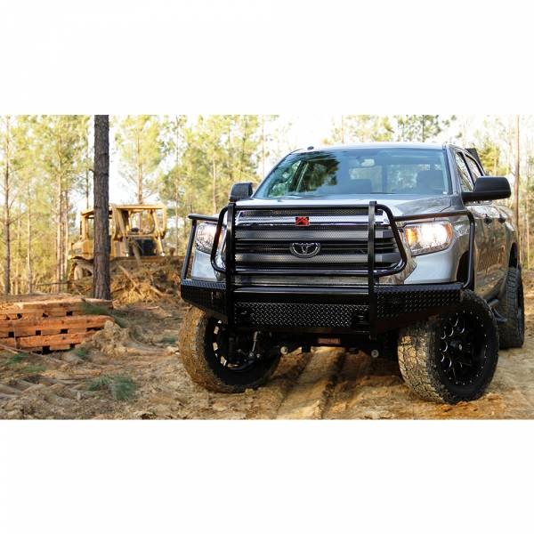 Fab Fours - Fab Fours TT14-K2860-1 Black Steel Front Bumper with Full Grille Guard for Toyota Tundra 2014-2019
