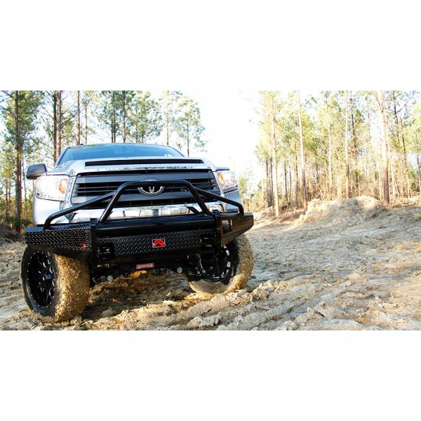 Fab Fours - Fab Fours TT14-K2862-1 Black Steel Front Bumper with Pre-Runner Bar Guard for Toyota Tundra 2014-2019