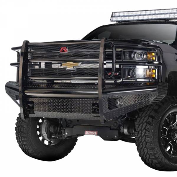 Fab Fours - Fab Fours CH05-S1360-1 Black Steel Front Bumper with Grille Guard for Chevy Silverado 2500HD/3500 2003-2006