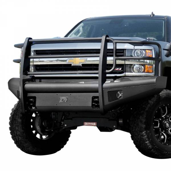 Fab Fours - Fab Fours CH08-Q2060-1 Black Steel Elite Smooth Front Bumper with Grille Guard for Chevy Silverado 2500HD/3500 2007-2010