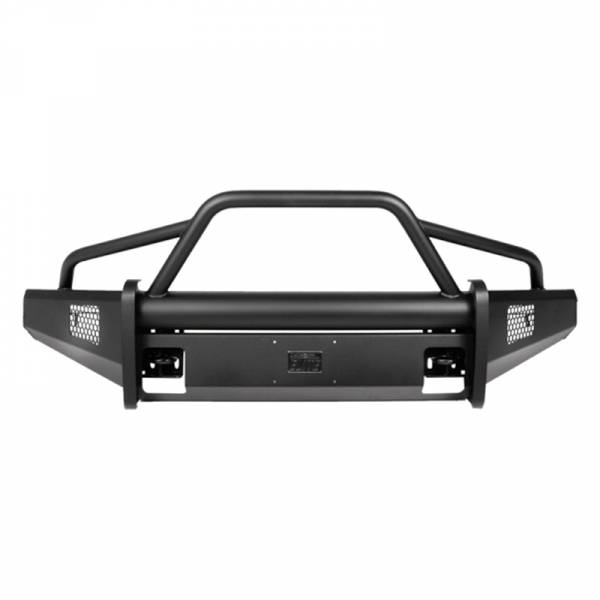 Fab Fours - Fab Fours CH08-Q2062-1 Black Steel Elite Smooth Front Bumper with Pre-Runner Guard for Chevy Silverado 2500/3500 2007-2010