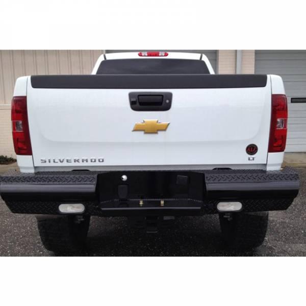 Fab Fours - Fab Fours CH08-T1450-1 Black Steel Rear Bumper for Chevy Silverado 2500/3500 2007-2010
