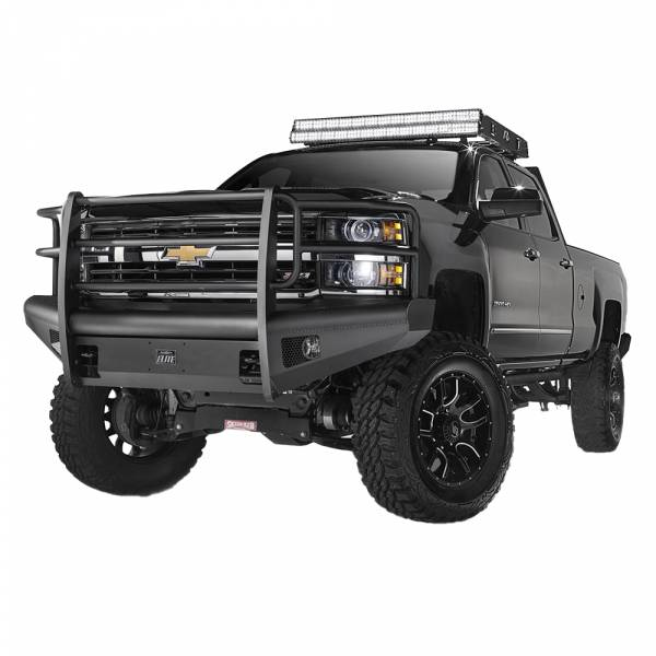 Fab Fours - Fab Fours CH14-Q3060-1 Black Steel Elite Smooth Front Bumper with Grille Guard for Chevy Silverado 2500/3500 2015-2019