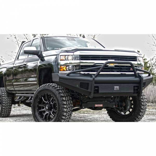 Fab Fours - Fab Fours CH14-Q3062-1 Black Steel Elite Smooth Front Bumper Pre-Runner Guard for Chevy Silverado 2500/3500 2015-2019