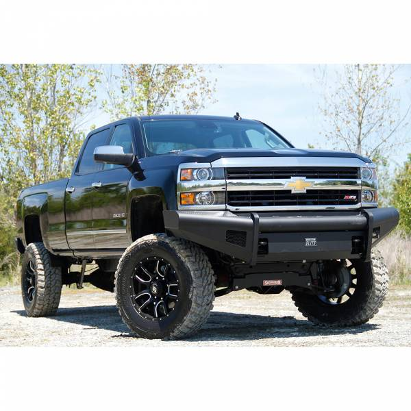 Fab Fours - Fab Fours CH14-Q3061-1 Black Steel Elite Smooth Front Bumper for Chevy Silverado 2500/3500 2015-2019