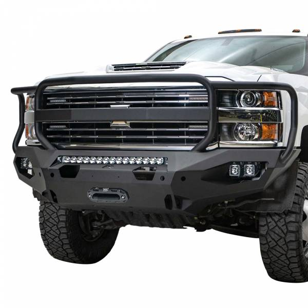 Fab Fours - Fab Fours CH15-X2750-1 Matrix Front Bumper with Grille Guard for Chevy Silverado 2500 HD/3500 HD 2015-2019