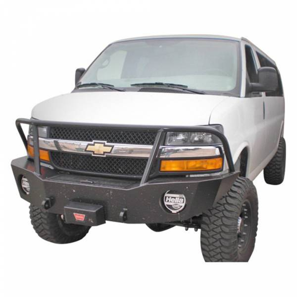 Aluminess - Aluminess 210044 Front Bumper with Brush Guard for Chevy Express Van 2003-2018