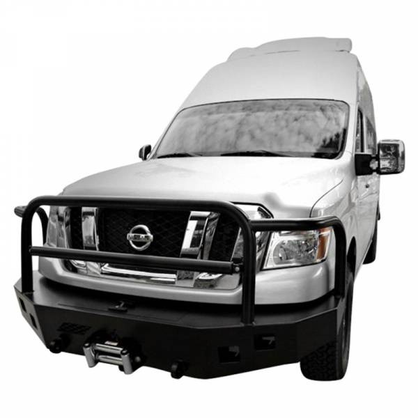 Aluminess - Aluminess 210244 Front Bumper with Brush Guard for Nissan NV 2011-2018